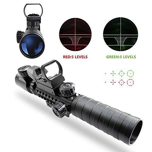 Lunettes de visée Tactical Airsoft Rifle Scope fusil à air scopes Illuminé 3-9x32EG 3 en 1 Chasse 4 réticule holographique Rouge et vert Point de vue pour 22mm (Scope A)