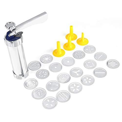 Nikou Cookie Press Gun Kit - Cookie Press Kit Multifunktionales DIY-Keks-Maschinen-Kit für das Backen von Kuchen mit 20 Formen und 4 Düsen