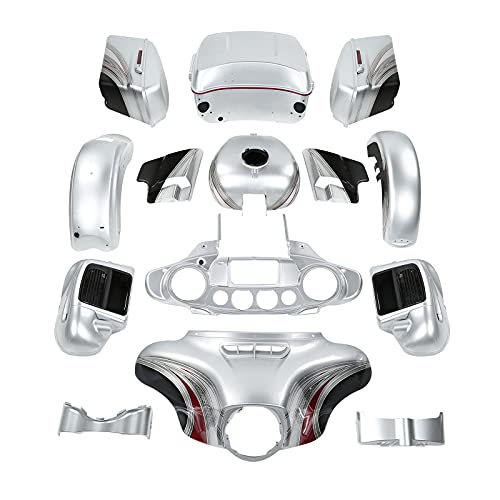 Fairing Body work kit for Harley Electra Glide and Ultra Limited models 2014-2021,for Candy Red/Silver Honeycomb Fade