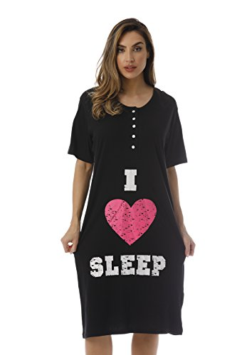4361-110-S Just Love Short Sleeve Nightgown / Sleep Dress for Women / Sleepwea,Black - I Heart Slee,Small