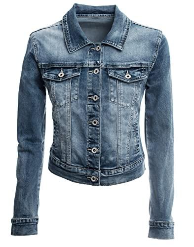 JOPHY & CO. Giacca Jeans Corta Denim Donna Cotone Tasche con Bottoni & Logo Posteriore Bacio Cuore Brillanti (cod. JC028) (m)