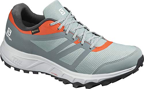 Salomon Trailster 2 GTX Zapatillas Impermeables Trail Running Hombre , Gris (Lead/Stormy Weather/Cherry Tomato), 41 1/3 EU
