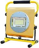 Chanety 100W LED 3000 Proyector de lúmenes, luz de trabajo recargable portátil, 3 modos de luz blanca y azul rojo con modo intermitente llamada de socorro Lámpara de advertencia, IP65 Iluminación de e