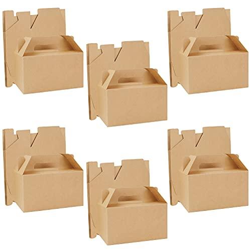 Belle Vous Caja de Chuches para Regalar Marrón (Pack de 24) 16 x 9 x 9 cm - Caja Kraft Lisa Regalitos de Bodas para Cumpleaños de Niños y Niñas, Comida, Baby Shower y Bodas - Cajas para Chuches