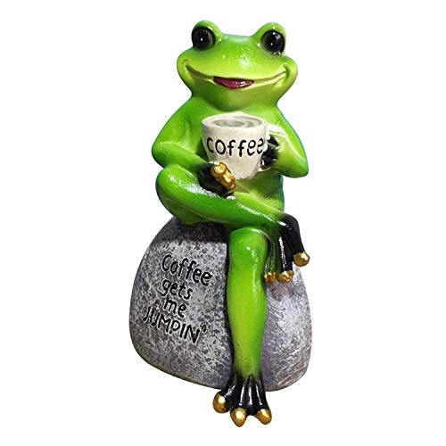 Home33 Accessories Resin Frog Figurines Green Frog Statue Sitting on Stone Drinking Coffee Pose Figurine Garden Frog Stone for Patio, Balcony, Yard, Lawn-Unique Housewarming Gift (Color : B)