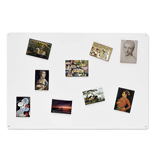 KalaMitica, Supporto in acciaio per magneti e calamite souvenir e da collezione, Dimensioni 56x38x0,12 cm, Colore Bianco