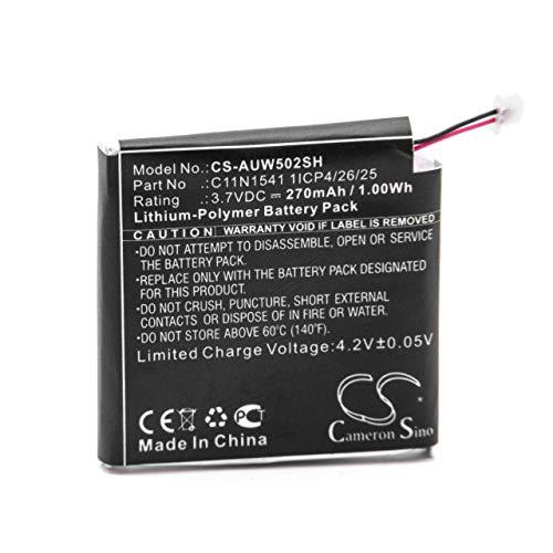 vhbw Batería Recargable reemplaza ASUS C11N1541 1ICP4/26/25 para smartwatch, Reloj de Actividad (270 mAh, 3,7 V, polímero de Litio)
