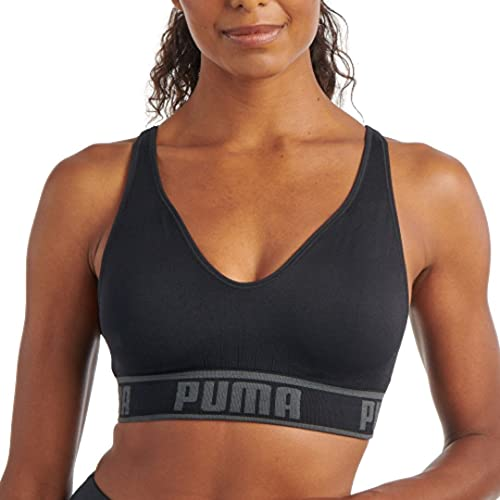 PUMA Women's Seamless Sports Bra, Black/Grey, Large