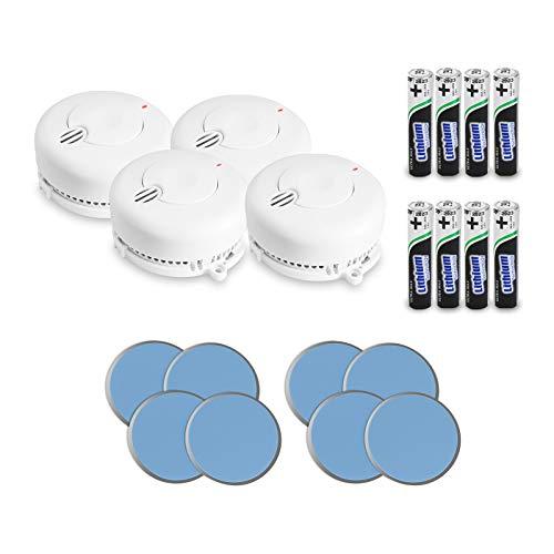 AngelEye 4er Set Rauchmelder – 10 Jahre Batterie Langzeit Lithium Brandmelder/Feuermelder inkl. Magnethalterung DIN EN14604, Weiß