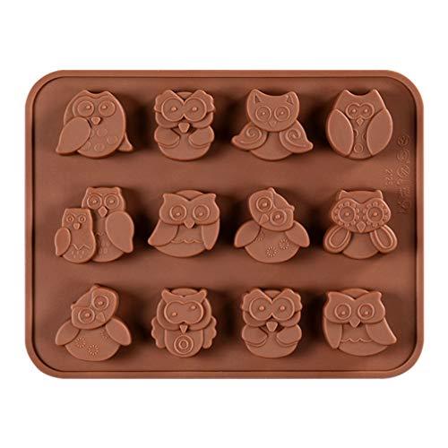 JasCherry Silikon Backform für Schokolade, Cupcakes, Kuchen, Muffinform für Muffins, Pudding, Eiswürfel und Gelee - Animal Serie (Eule, Owl)