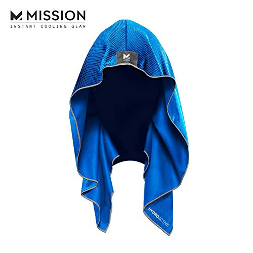 Mission Cooling Hoodie Towel- Hood Towel, Evaporative Cool Technology, Cools Instantly when Wet, UPF 50 Sun Protection, Contours Your Head to Stay in Place, Great for Sports, Fitness, Gym- Blue