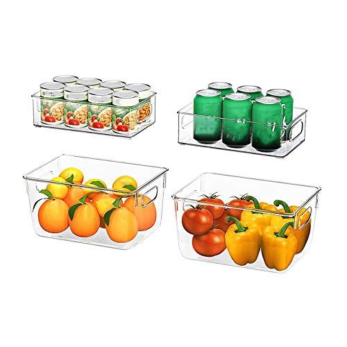 Senmubery Contenedores Organizadores de Despensa Transparentes de 4 Piezas Contenedores de Almacenamiento de Refrigerador con Asas para Refrigerador, Congelador, Gabinete, Cocina, BaaOs