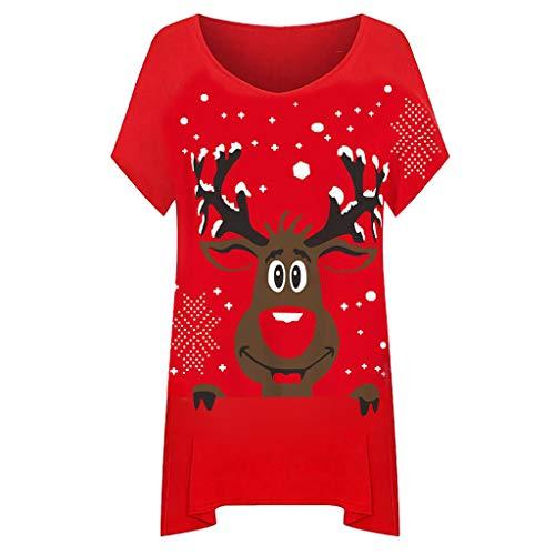Vrouwen Kerst Korte Mouw T-Shirt Tops Dames O-Hals Rendier Sneeuwvlok Hanky Hem Lange Top Pullover Casual Blouse