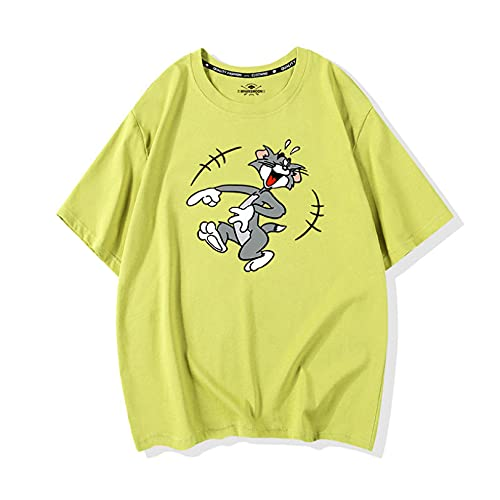 Tシャツ レディース メンズ 半袖上着 トムとジェリー かわいい 丸首 夏服 ライト 明るく ペア服 カップル 恋人 ペア服 トップス ファッション カジュアル ゆったり シンプル ピンク グリーン ブルー イエロー パープル