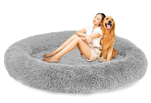 jHuanic Plüsch Warme Hundebett Hundekorb, Antistress Rundbett Waschbar Haustierbett Orthopädisches Donut Hundesofa für mittelgroße Grosse Hunde (Grau,100cm/39.3inch)
