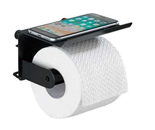 WENKO DIE BESSERE IDEE Dérouleur Papier WC avec Tablette Classic Plus Noir