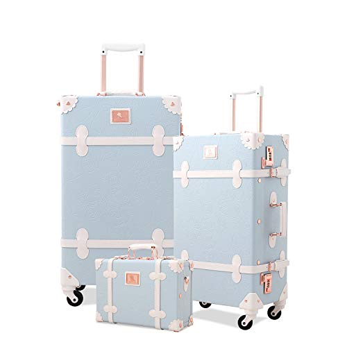 Unitravel Retro Suitcase Set PU Leather Spinner Trunk Luggage with Handbag for Women (Embossed Blue, 26in 20in 12in)