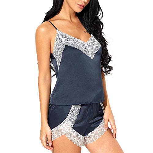 SEDEX Pijama de mujer corto lencería de noche Babydoll encaje cuello en V raso verano ropa interior conjunto pijama 2 piezas turquesa L