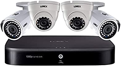 Lorex 1080p HD Weatherproof Indoor/Outdoor Wired Home Surveillance Security Camera System, 2 Bullet & 2 Dome Cameras w/Smart Home Compatible, Long Range, Color Night Vision + 1 TB Storage Hard Drive