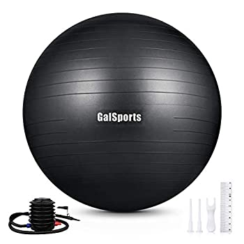 GalSports Exercise Ball  45cm-75cm  Anti-Burst Yoga Ball Chair with Quick Pump Stability Fitness Ball for Birthing & Core Strength Training & Physical Therapy  Black L  58-65cm