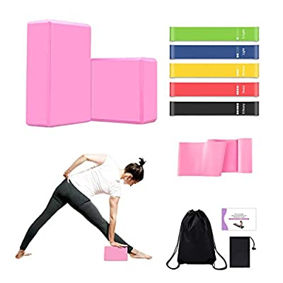 MIZIKUSON Yoga Blocks 2 Pack with Strap, 5 Work...