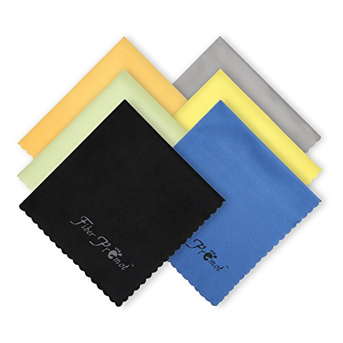 Fiber Promot 6 Pack Microfiber Cleaning Cloths for Electronics,Phone,Screen,Camera,Bottles, Lens,Square,Eye Glasses,Wipes,Optical,Computer,Laptop and TV Sets Cleaner (6×7 inches)