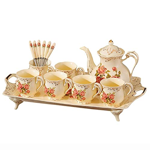 Porcelain Tea Sets For Adults Coffee Cups Set With Teapot Afternoon Tea Set With Matching Spoons Ceramic Flower Tea Service Best Gift
