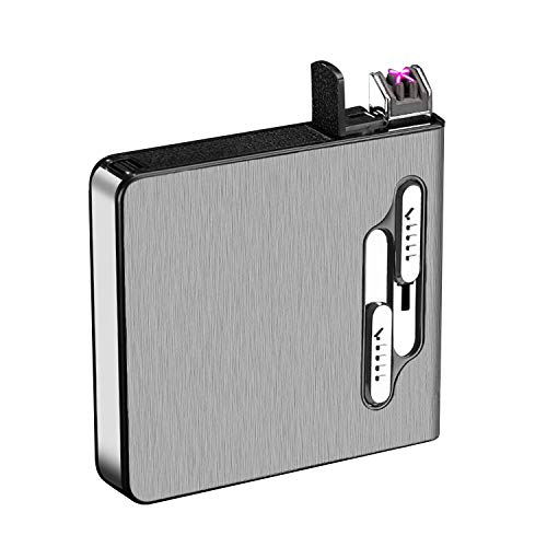 電子ライター USB充電式ライター プラズマ シガレットケース タバコケース 20本収納 防風 煙草ケース 防水 防湿 シルバー