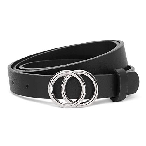 JasGood Gürtel zwei Ringen Gürtel Damen Stilvoll Gürtel Robuster Gürtel mit Eisenschnalle Einfacher Stil Einzigartig gürtel Vintage und Modisch, A-schwarz-silberne Schnalle, XS-95cm(24-28 zoll)
