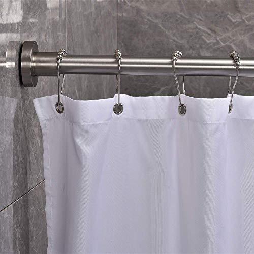 Barra de Cortina de tensión Rodillo de la cortina de ducha Extendible 25'-40', Never Tensión de óxido Rod Cortina Sin taladro Barras de ventanas de acero inoxidable para baño, cocina, armarios-platea