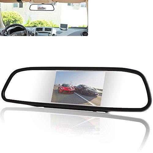 YMPA Rückfahrsystem Einparkhilfe 12,7 cm 5 Zoll Inch TFT LCD Spiegel Monitor Innenspiegel Rückspiegel Rückfahrkamera Kennzeichen Nummernschild Halterung 6 M Kabel Auto PKW KFZ Wohnmobil