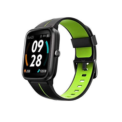 TicKasa Vibrant smartwatch per uomini e donne monitoraggio del fitness con GPS e 14 modalità sport, cardiofrequenzimetro, monitoraggio del sonno, smartwatch per Android iOS (nero-verde)