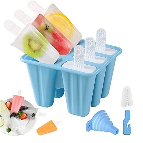 Eisformen, 6 Silikon Popsicle Formen Set, DIY hausgemachte kreative Popsicle Formen Set mit 1 Silikontrichter und 1 Reinigungsbürste, BPA-Frei (Blau)