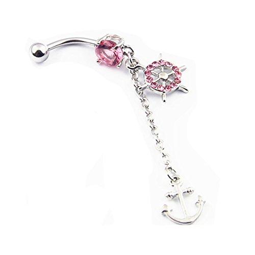 BODYA 316L Chirurgischer Stahl 14 Gauge Navel Bauch Ring Anker Gem Paved Schiffs Rad baumeln Piercing Pink Crystal