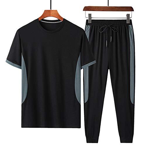 Completo Corto Tuta Uomo Basico Tuta Uomo Set 2 Pezzi di Colori a Contrasto Tuta Sportiva Estiva da Uomo T-shirt con Base Maschile Girocollo + Pantaloni Casual per la Vita Quotidiana (XL,Nero)