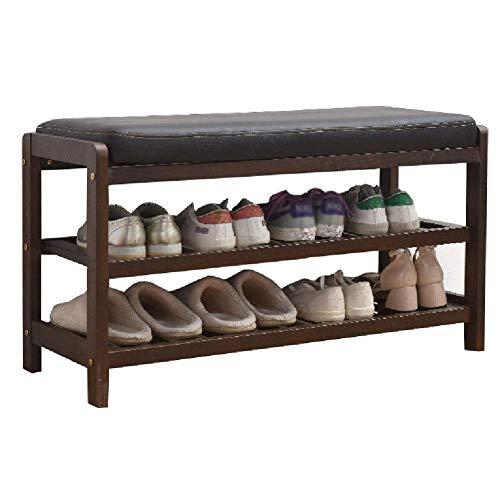 YANGYUAN Asiento de banco de 3 niveles para cambiar zapatos, pasillo de madera, estante organizador de almacenamiento de zapatos con cojín (tamaño: 85 x 33,5 x 48 cm) zapatero (color: marrón)