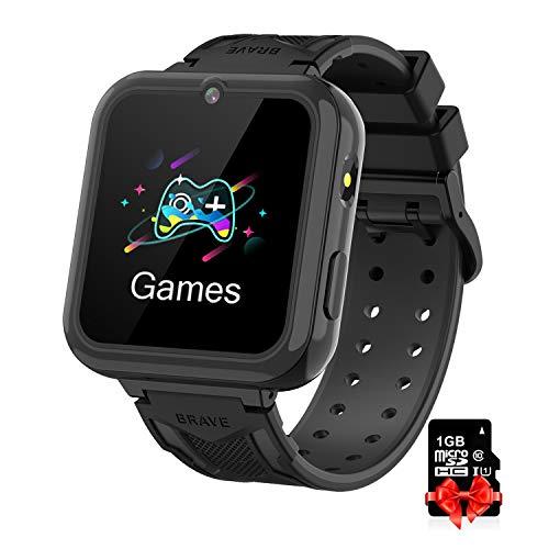 Reloj Inteligente para Niños black, Smart Watch con Reproductor de MúSica SOS Linterna Cámara 7 Juegos Y Reproductor de...