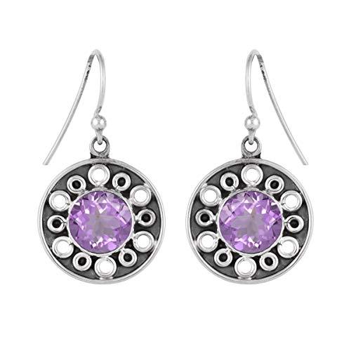 Ronda de opción múltiple Forma de piedras preciosas de plata de ley 925 Gota colgante vintage plateada Pendiente para mujer (Rosa amatista)