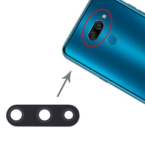 Repuesto de cristal de cristal de repuesto para objetivo de cámara trasera + adhesivo de doble cara compatible con LG K50 / K12 MAX / LMX520BMW / LMX520EMW