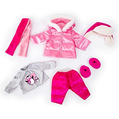Bayer Design Puppenkleidung für 40-46cm Puppen, Winterset, Winterjacke, Hose, Mütze, Shirt mit Pinguin, Schal und Schuhe 84613AA, Rosa Grau