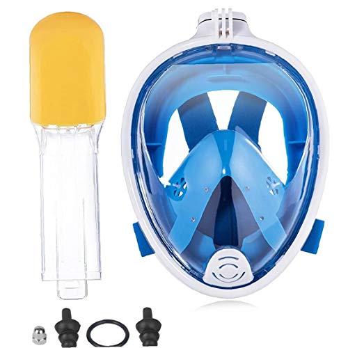 EElabper Buceo Cubierta De La Cara del Tubo Respirador De Pieza Facial De Buceo Cara Visera para El Hombre Mujer De Mediana S/M Azul