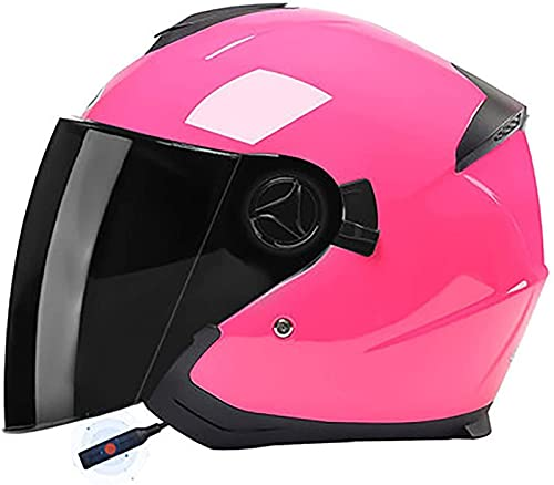 Casco Bluetooth De Cara Abierta Para Motocicleta Aprobado Por DOT - Moto Ciclomotor Jet Bobber Pilot Crash Chopper 3/4 Medio Casco Con Visera Para Hombres Adultos Mujeres - Negro Mate H1,54-59CM