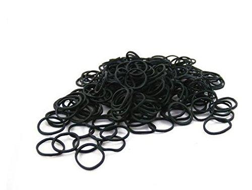 Packung mit 250 Kleine Mini Haar Gummiband Gummi flicht Bands für Dreads Cornrows flechten |Schwarz| Friseurwerkzeuge