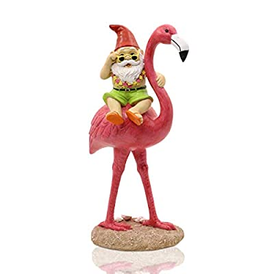 Garden Statue Gnome Riding Flamingo,Adorable Hawaii Gnome Figurine Yard Ornament, Pink Flamingo Garden Décor, Beach Party Decorations, Perfect for Summer Outdoor Patio Lawn Decorations (11 inches)