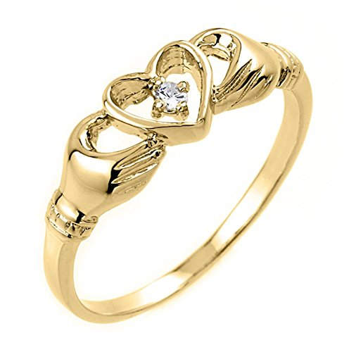 Alta Polaco 14 K oro amarillo Diamante Solitario Anillo de Claddagh