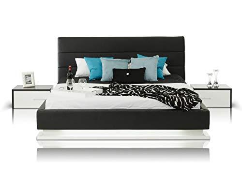 Fantastic Deal! Black Leather King Bedroom Set 3Pcs w/Fluorescent Light Soflex Modrest Infinity