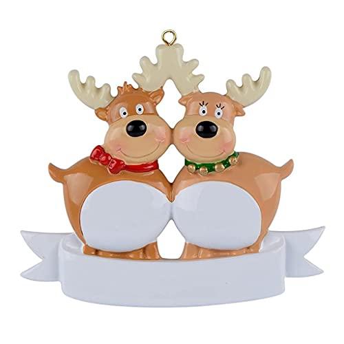 OSELLINE Personalizado renos familia árbol de Navidad ornamento DIY nombre bendición colgantes 2 #