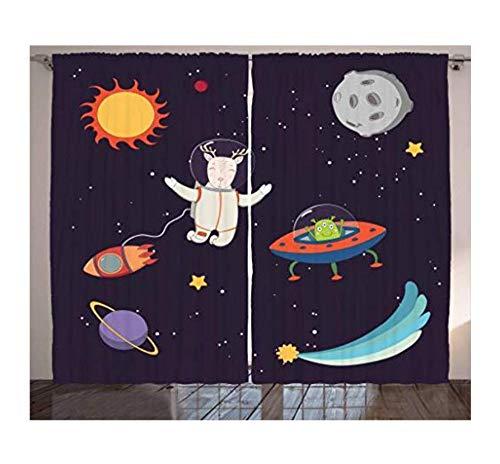 Aymsm Explore Curtains Hand Drawn Deer Astronaut in Space Sun Moon Shooting Star Alien Planet Living Room Bedroom