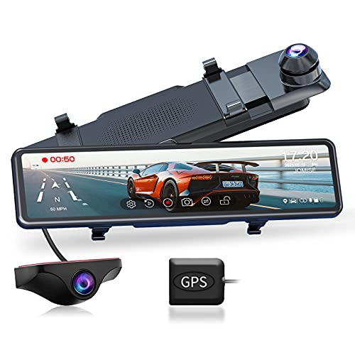 """JOMISE G810 Mirror Dash Cam for Cars, FHD 1080P 11"""" Touch Screen Front and Rear Dual Lens Dash Camera, Enhanced Night Vision with Sony Starvis Sensor, GPS, G-Sensor, Parking Assistance, Loop Recording"""