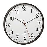 TFA Dostmann - 60.3537.01 - Orologio da parete analogico radiocontrollato con telaio in metallo, 305 x 47 mm, in plastica, colore: nero